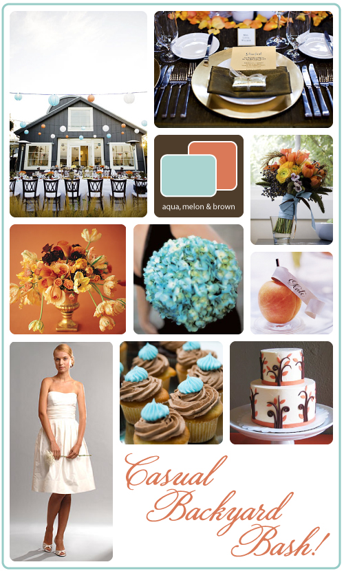 Aqua and Coral light orange wedding colors photo 112684-1